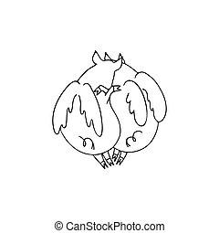 恋人, 2, ブタ, 翼, ベクトル, 黒, イラスト, 白, 天使, 漫画, cuddling.