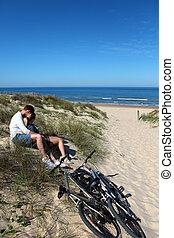 恋人, bicycles, 砂 砂丘, モデル