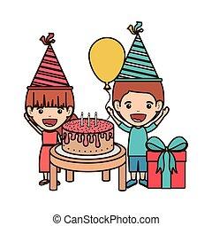 恋人, birthday, 子供, 祝福