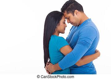恋人, indian, 若い, 抱き合う, 情事