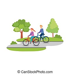恋人, ridding, bicycles, 特徴