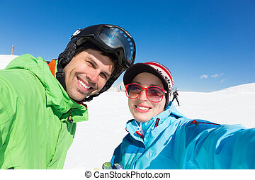 恋人, skiing.
