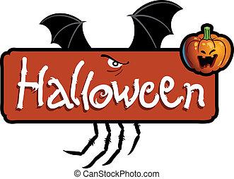恐い, コウモリ, ハロウィーン, spider\'s, 翼, titling, 頭, ジャッキo ランタン, 足,...