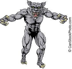 恐い, スポーツ, 狼, 狼人間, マスコット