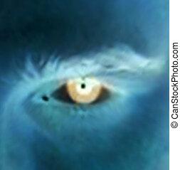恐い, 抽象的, ベクトル, eye.