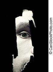 恐い, 目, の, a, 人, スパイ行為, によって, a, 壁の穴