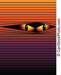 恐い, 目, ハロウィーン, ベクトル, 背景, オレンジ