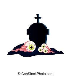 恐い, 目, 墓, ハロウィーン