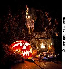 恐い, 蝋燭, カボチャ, きのこ, life., ハロウィーン, まだ