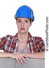 恐れさせられた, 女性, 建築作業員