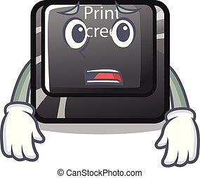 恐れている, ボタン, 隔離された, 漫画, 印刷, スクリーン