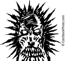 恐ろしい, face., ベクトル, 悪魔, illustration.