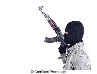 恐怖分子, 由于, ak47, 機槍