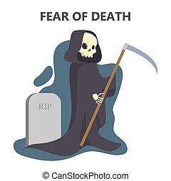 恐怖, 特徴, 恐れ, 黒, death., ローブ