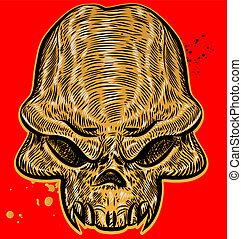 恐怖, 赤い背景, 頭骨