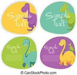 恐竜, ステッカー, デザイン, かわいい