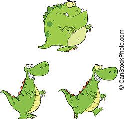 恐竜, 怒る, コレクション, セット