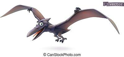 恐竜, 漫画, pterodactyl., pterosaur, 3d, ベクトル, 動物, 飛行, 面白い, アイコン, character.