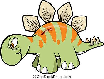 恐竜, stegosaurus, ベクトル, 堅い