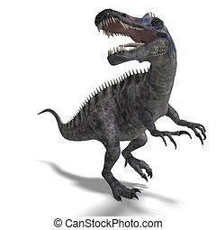 恐竜, suchominus., 3d, レンダリング, ∥で∥, クリッピング道, そして, 影, 上に, 白
