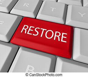 恢复, 鑰匙, 上, 計算机鍵盤, -, 之外, 或者, 搶救, 援救