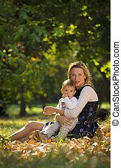 息子, 公園, 遊び, 母