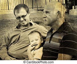 息子, 古い, カラー写真, イメージ, 父, grandfather., 肖像画, style.