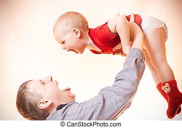 息子, 小さい, 幸せ, 父, プレーしなさい