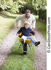息子, 押す, 父, 一輪手押し車