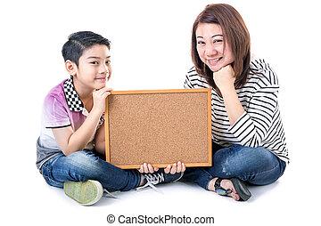 息子, 木, アジア人, 背景, 母, 白, 把握, 板