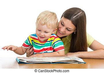 息子, 本, お母さん, 子供, 読書, 幸せ