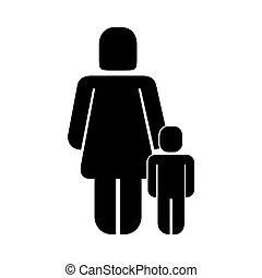 息子, 母, 親, pictogram