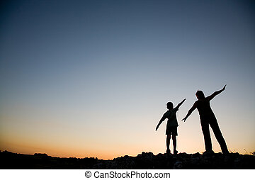 息子, 母, sunset.