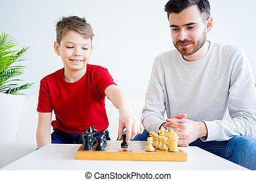 息子, 父, チェス, 遊び