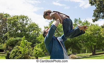 息子, 父, 公園, 届く
