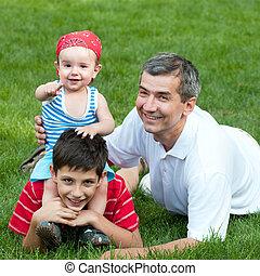 息子, 父, 公園, 彼の