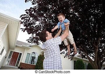 息子, 父, 持ち上がること, 空気