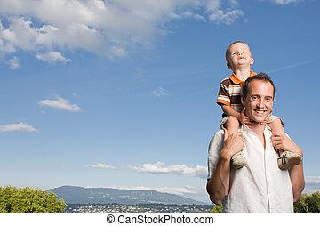 息子, 父, 背中, 小豚