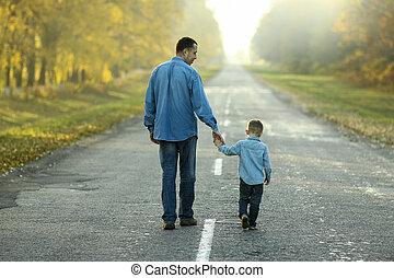 息子, 父, 自然の散歩