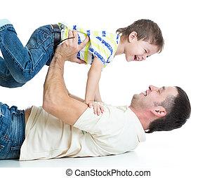 息子, 父, 遊び, 子供