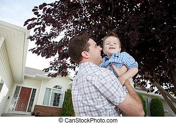 息子, 父, 遊び, 屋外で
