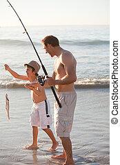 息子, 父, 釣り, 彼の