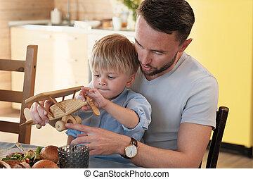 息子, 遊び, 父