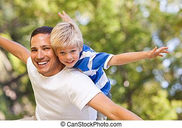 息子, 遊び, 父, 彼の