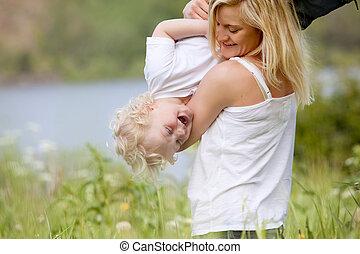 息子, 遊び, 牧草地, 母