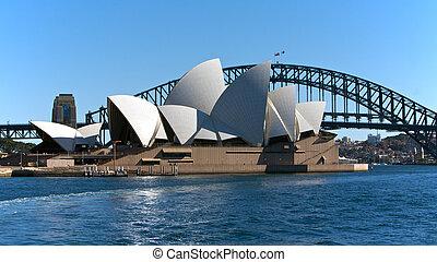 悉尼, 澳大利亚, 歌剧房屋, 同时,, 架桥