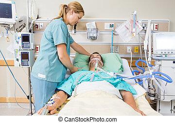 患者の, 看護婦, 調節, 枕