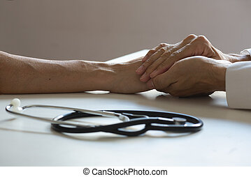 患者, オフィス, 医者, 医学, 手の 保有物