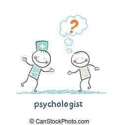 患者, クエスチョンマーク, 話し, 心理学者, 考える
