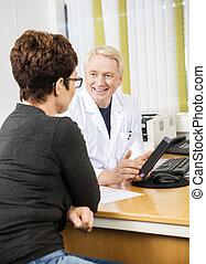 患者, タブレット, 医者, 提示, 女性, デジタル